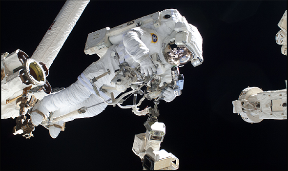 Consider the gravity of the situation if a space walk were to go wrong. Above: European Space Agency astronaut Luca Parmitano has some idea. In 2013, an equipment malfunction caused his helmet to fill with water.