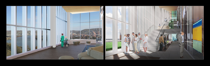 LEFT: A view from the hospital, expected to open in 2022. RIGHT: The building is designed to encourage collaboration, from the ground floor to the rooftop garden.