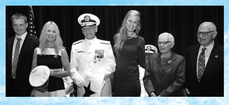 Louis Tripoli (in naval uniform) at his promotion to admiral in 2016 with family, including (from left) son, Louis Philip, wife, Michelle, daughter Marissa, mother, Rita and father, Charles.