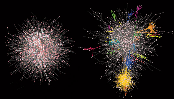 As a PhD student, Carvunis built the first-ever interaction map for a plant's proteins. The figures here, from a 2011 Science paper, show these interactions are not organized randomly. If they were, the network would look like a big meaningless hairball (see simulation, left image). The right image shows what Carvunis found: communities of proteins that work closely with one another on specific biological processes. And in another Science paper published that very same day, Carvunis described how the job of one of these communities is to fight off different types of pathogens. The proteins in this community evolve rapidly to keep up an arms race with their microbial enemies.