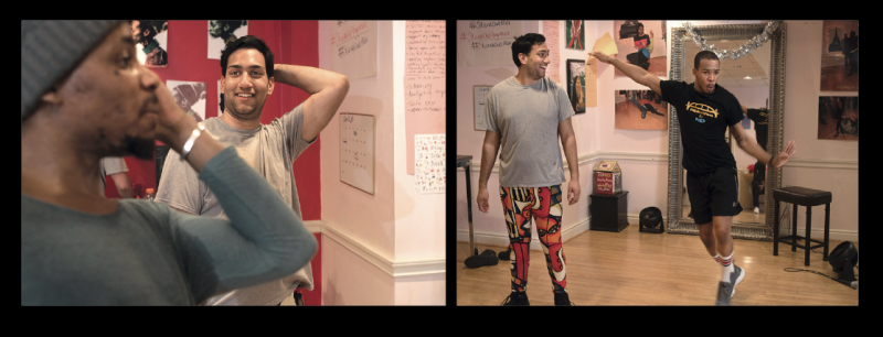 LEFT: Salim Snyder looks on as Tyreese Taylor dances during a vogue class at Project Silk. RIGHT: Roi Johnson teaches Snyder a move.