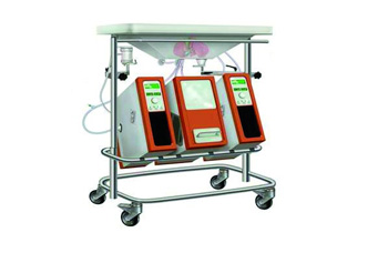 A new perfusion system, developed by Paulo Fontes, includes a novel recipe for the all-important fluid used and rethinks the temperature and the oxygen environment. (In the cart shown here, the organ would get a chilled bath in the sink while the machine pumps fluid into the organ.)