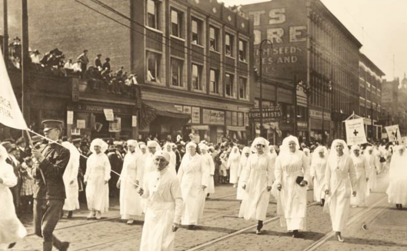 When armistice was declared, people poured into the streets, rejoicing. An official celebration followed—as did a spike in flu cases. Photo: Historical Society Of Western Pennsylvania.