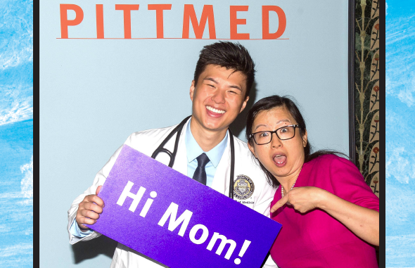 Josh Ong and his mom. Photography: Mike Drazdzinski/University of Pittsburgh