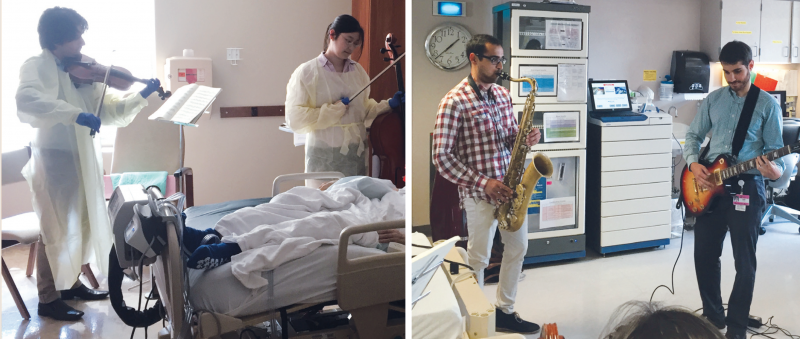 left: Pouya Joolharzadeh (violin) with Sae Jang (cell0), founder of MusiCare, play for a palliative care patient. right: Amol Mehta (saxophone) and Justin Arnett (guitar) play in the dialysis unit.