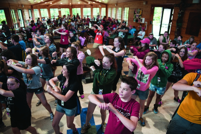 Kids get their hearts pumping with music at Heart Camp. Shaking their groove thing after every meal is a tradition. (Photo: Scott Goldsmith)