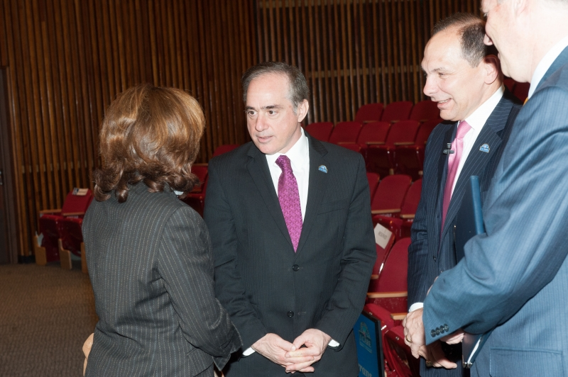 The VA's Under Secretary for Health, David Shulkin (center) and VA Secretary Robert McDonald (flanking him on the right) visited Pitt in November 2015.
