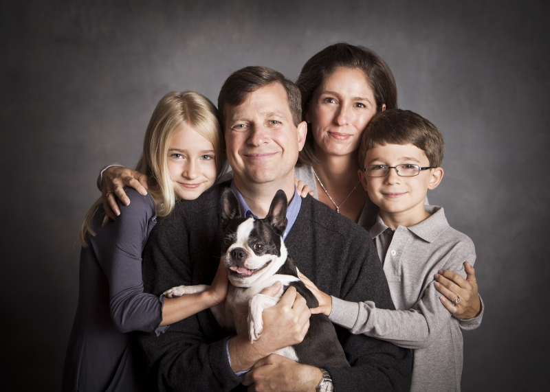 The family poses for a Christmas card. Neil and Suzanne are shown with their children, Abby and Patrick, and their dog Libby. Taken November 2011.