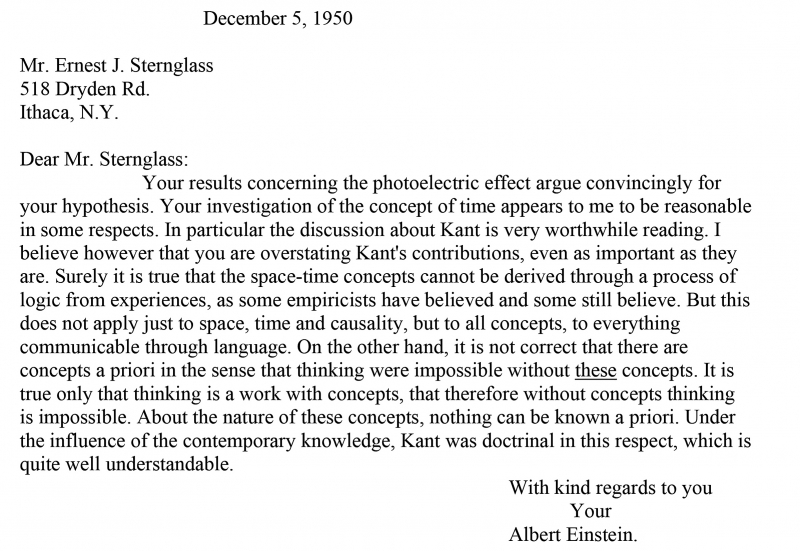 After meeting with Albert Einstein in 1947, Ernest Sternglass continued their conversation about theoretical physics (and, at times, philosophy) through letters. Typically, Sternglass wrote in English, and Einstein responded in German.